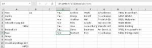 Die fertige Tabelle mit Formeln transponiert