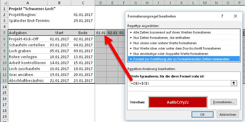 Erste Datumsregeln