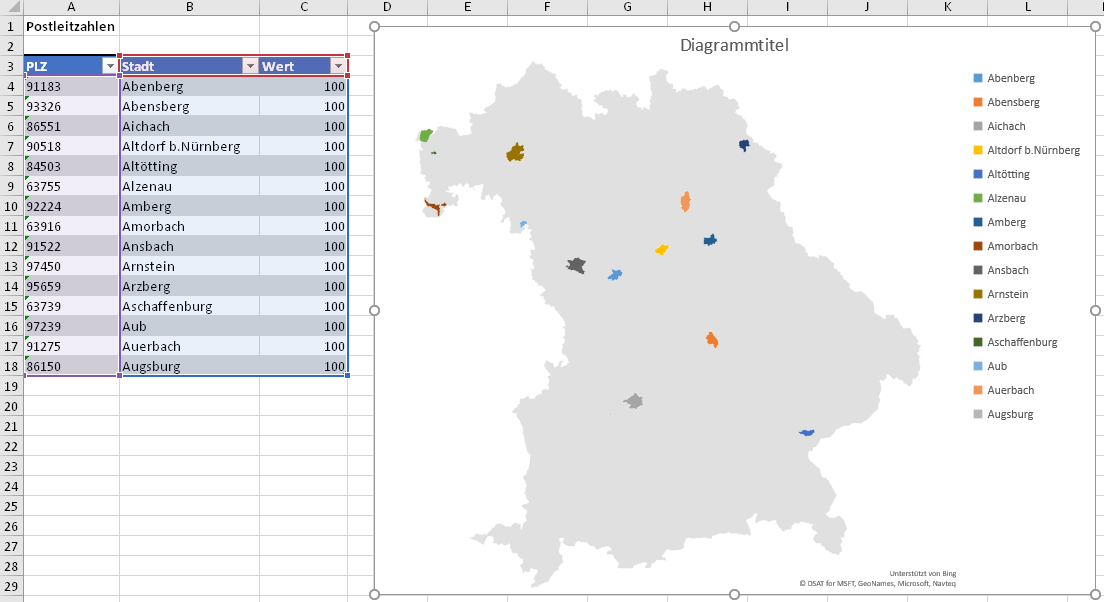 Bundesländer Karte Ohne Namen.Sehr Cool Kartendiagramme In Excel Der Tabellen Experte