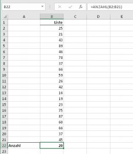 Beispielliste mit 20 Zufallszahlen