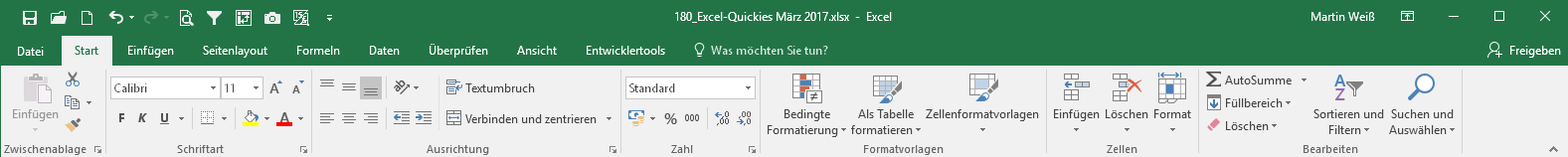 Excel 2016 mit grünem Register-Hintergrund