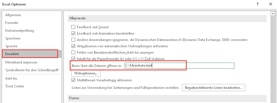 Alternatives Autostart-Verzeichnis