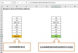 Beispiel 2: Summe über Fehlerliste per Array-Formel