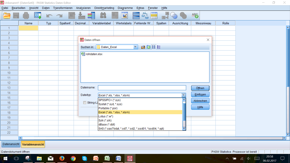 Excel-Datei in SPSS öffnen