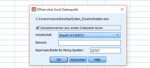 Excel-Datei in SPSS einlesen