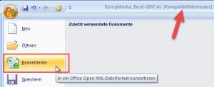 Excel 2007: Datei konvertieren