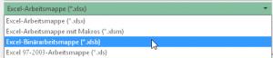 Dateityp Excel-Binärformat (*.xlsb)