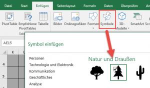 Excel 2016: Symbole einfügen
