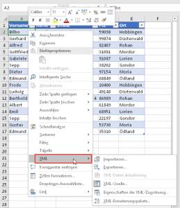 Das neue Kontextmenü XML