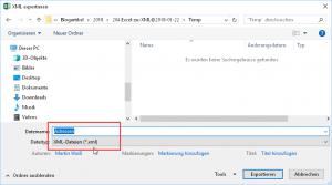 Die Tabelle in eine XML-Datei exportieren
