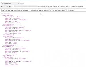 Die XML-Datei im Webbrowser
