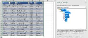 Formatierte Tabelle mit XML-Zuordnung