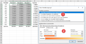 Formatierungsregeln in normalen Tabellen