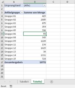 Einfache Pivot-Tabelle mit einem Berichtsfilter
