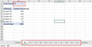Lauter neue Arbeitsblätter mit gefilterten Pivot-Tabellen