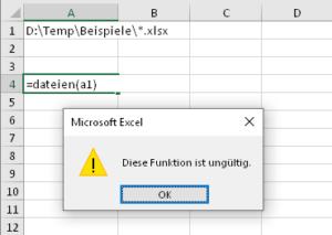 Die Funktion kann nicht direkt verwendet werden