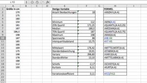 Das Excel Analyse Tool für quantitative Variablen