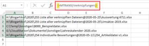 Eingabe von MTRANS als Array-Funktion