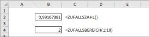 Die bekannten Funktionen ZUFALLSZAHL und ZUFALLSBEREICH