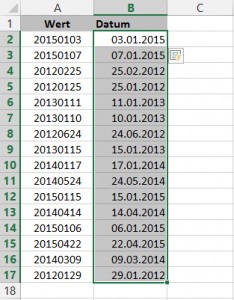 Die formatierten Datumswerte