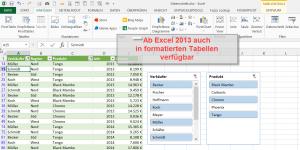 Datenschnitt in formatierten Tabellen