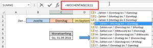 Typ 11 der Funktion WOCHENTAG
