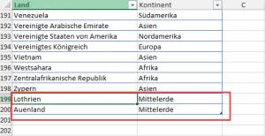 Neue Werte in der Länderliste