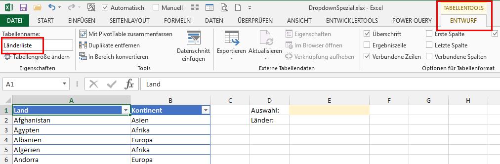 Dropdown-Liste Spezial   Der Tabellen-Experte