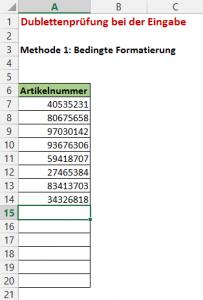 Beispiel: Erfassung von Artikelnummern