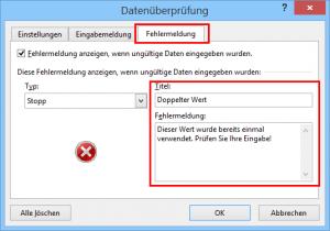 Benutzerdefinierte Fehlermeldung