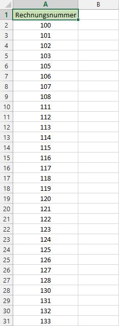 Beispiel: Lückenhafte Rechnungsnummern
