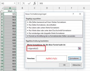 Formatierungsregel mit ISTGERADE