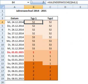 KALENDERWOCHE in Excel 2007