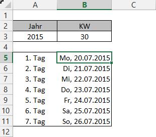 erster tag der kalenderwoche berechnen