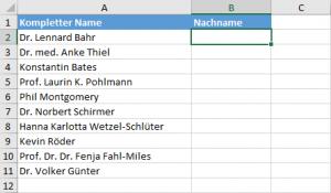 Die unbearbeitete Namensliste
