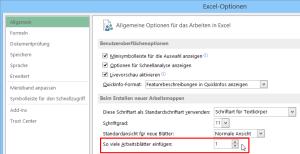 Einstellung in Excel 2010 / 2013