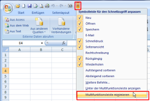 Excel 2007: Multifunktionsleiste minimieren