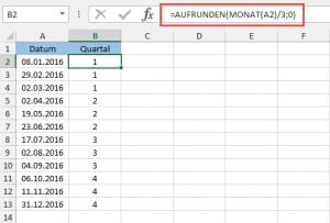 Quartale berechnen mit AUFRUNDEN