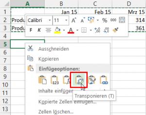 Excel 2013: Transponieren
