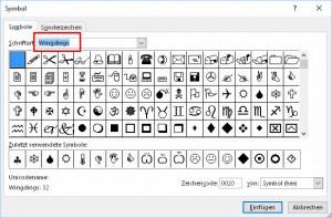 Symbole einfügen
