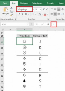 Wingdings vs. normaler Text