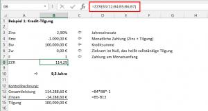 Beispiel 1: Kredit-Tilgung