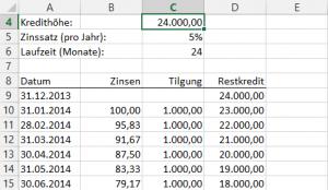 Beispiel 11: Kreditzinsen