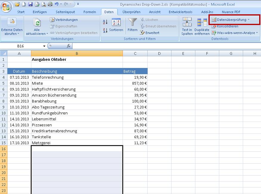 Excel dropdown auswahlliste erstellen