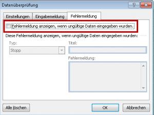 Fehlermeldung abschalten