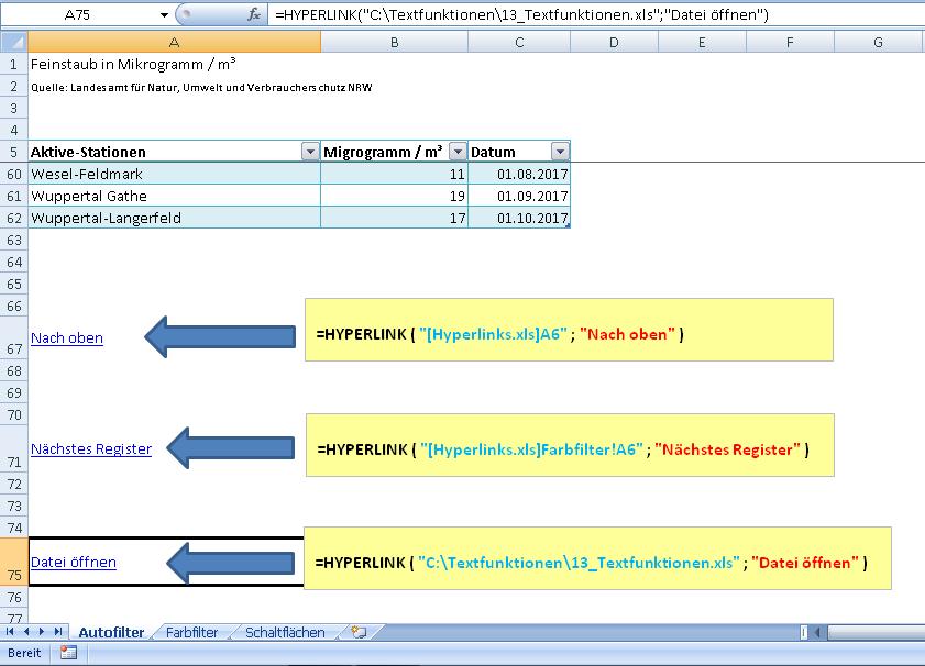 Hyperlinks und Schaltflächen: Einfaches Navigieren in Excel | Der ...