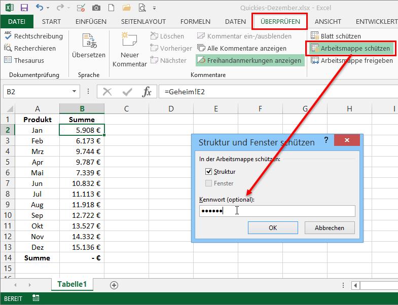 Excel Arbeitsblatt Passwort Schützen : Excel quickies vol der tabellen experte