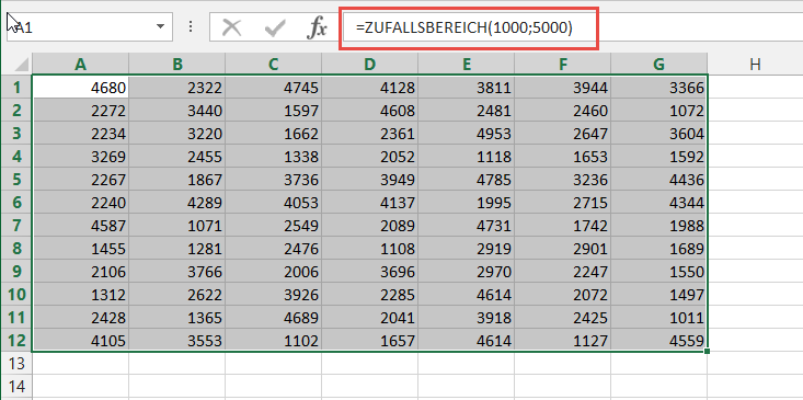 Excel Zufallszahl
