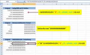 Zahlenformat vs. WIEDERHOLEN()